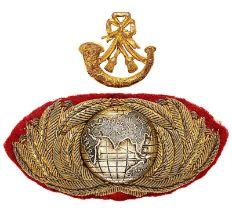 Royal Marine Light Infantry Officer forage cap badge. Good two piece example. Bullion laurel