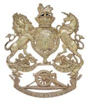 Artillery Volunteers Victorian Officer sabretache plate. Good scarce die-stamped silver plated Royal