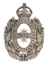The King's (Liverpool Regiment), 10th (Scottish) Battalion, Officer feather bonnet badge 1908-20.