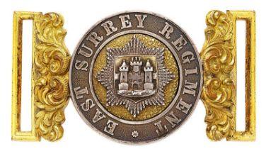 East Surrey Regiment Victorian Officer waist belt clasp circa 1881-1901. Fine silver and gilt