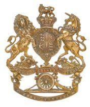 Royal Artillery Cadet Company Victorian Officer helmet plate. Good scarce die-stamped brass Royal