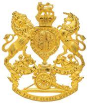 Royal Artillery Victorian senior NCO helmet plate circa 1878-1901. Good scarce die-stamped rich gilt