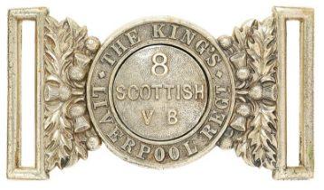 8th (Scottish) VB. The King's (Liverpool Regiment) waist belt clasp circa 1900-08. Good scarce