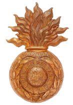 Royal Marine Artillery helmet plate circa 1878-1905. Good die-stamped brass large flaming grenade;