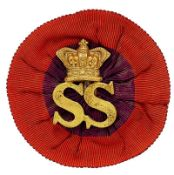 18th Bn. (Sharpshooters) Imperial Yeomanry Boer War slouch hat badge on rosette. Good rare brass