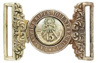 15th Lancashire Rifle Volunteers Victorian waist belt clasp circa 1860-88. Good scarce