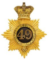 49th (P. Charlotte of Wales or Hertfordshire) Regiment of Foot Victorian Officer shako plate circa