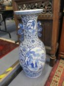 A large 20th century blue and white Chinese Baluster shaped vase in the Kangxi style, 93cm high