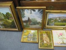 A small quantity of oils on board depicting landscapes, an owl and a still life