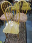 Three Ercol spindle back beech chairs of two different designs, one A/F (complete, just requires