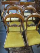 Four mahogany kidney backed dining chairs with drop in seats together with a pair of reproduction