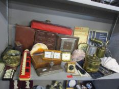 A vintage lot to include a Smiths mantle clock, a herb wall hanging drawer unit, a Burflam