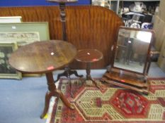 Small furniture to include a reproduction mahogany torchere, a reproduction mahogany low wine table,