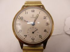 A Tudor 9ct gold gents manual wind wristwatch hallmarked Edinburgh 1958. The dial having Arabic