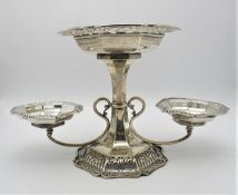 An Edwardian silver table centrepiece by James Dixon & Sons, Sheffield 1905, the centrepiece or