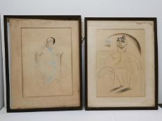 Emilio Coia (1911 - 1997) Scottish Two caricatural portrait drawings from the 30s or 40s, pastel