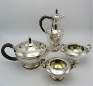 An Art Deco period silver tea and coffee set by T. Wilkinson & Sons, 1921, Birmingham, comprising