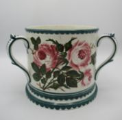 A large Wemyss ware pottery tyg, with cabbage rose pattern, the underside with impressed maker's