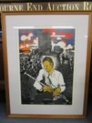Rigby Graham b 1931-2015 - a signed limited edition print of a seated man with bagpipes, signed in