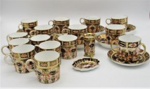 A Victorian Royal Crown Derby porcelain part tea and coffee set in the Imari pattern, comprising