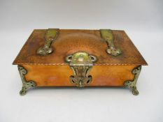 A fine Arts and Crafts silver mounted copper box, the silver hallmarked by R H Halford & Sons,