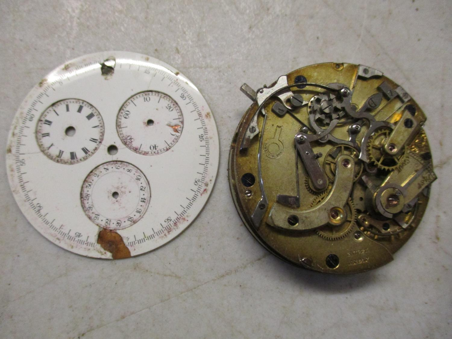 Chronograph pocket watch parts to include a Baume and Mercier A/F Location: Cabs - Image 4 of 5