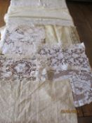 Lace - a 19th century Continental flax cream linen panel with hand-embroidered and crocheted