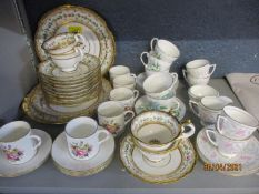 Tea/coffee ware to include Davenport decorated with a ring of flowers and gilt, Worcester coffee