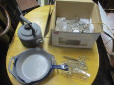 A mixed lot to include an Agalux kettle, Danish Morso kitchen pans and a ceiling light with glass