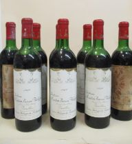 Eight bottles of Chateau Mouton Baron Philippe Grand Cru Classe Pauillac 1969 (two stained labels)