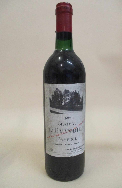 One bottle of Chateau L'Evangile 1987 Pomerol, 750ml Location: L.4