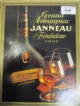 One boxed Grand Armagnac Janneau Fondateur VSOP with two brandy glasses Location: 5