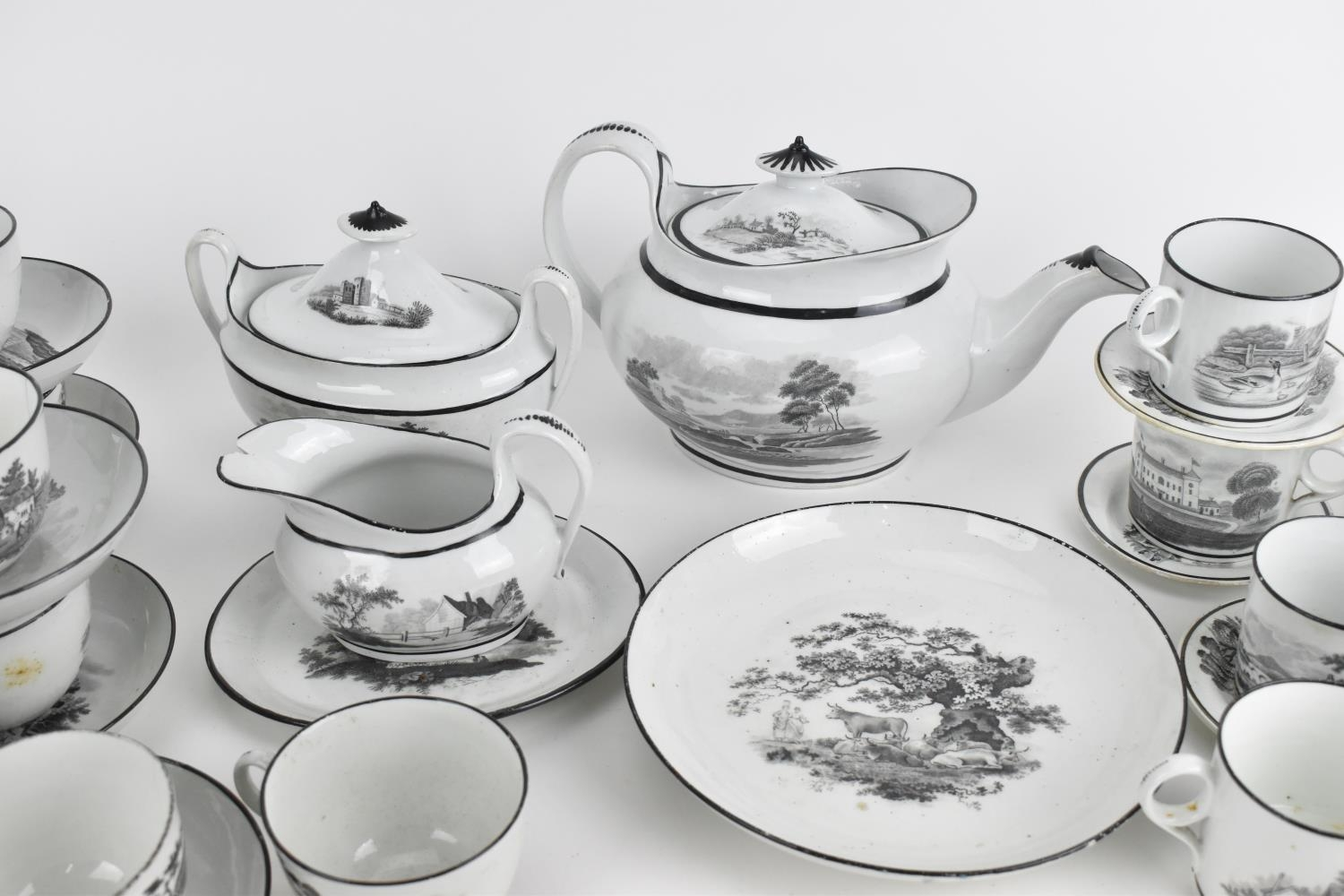 A George III period thirty eight piece New Hall tea and coffee service, circa 1805, pattern number - Image 2 of 11