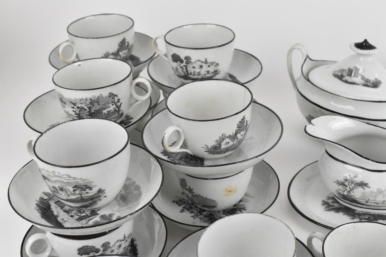 A George III period thirty eight piece New Hall tea and coffee service, circa 1805, pattern number - Image 3 of 11