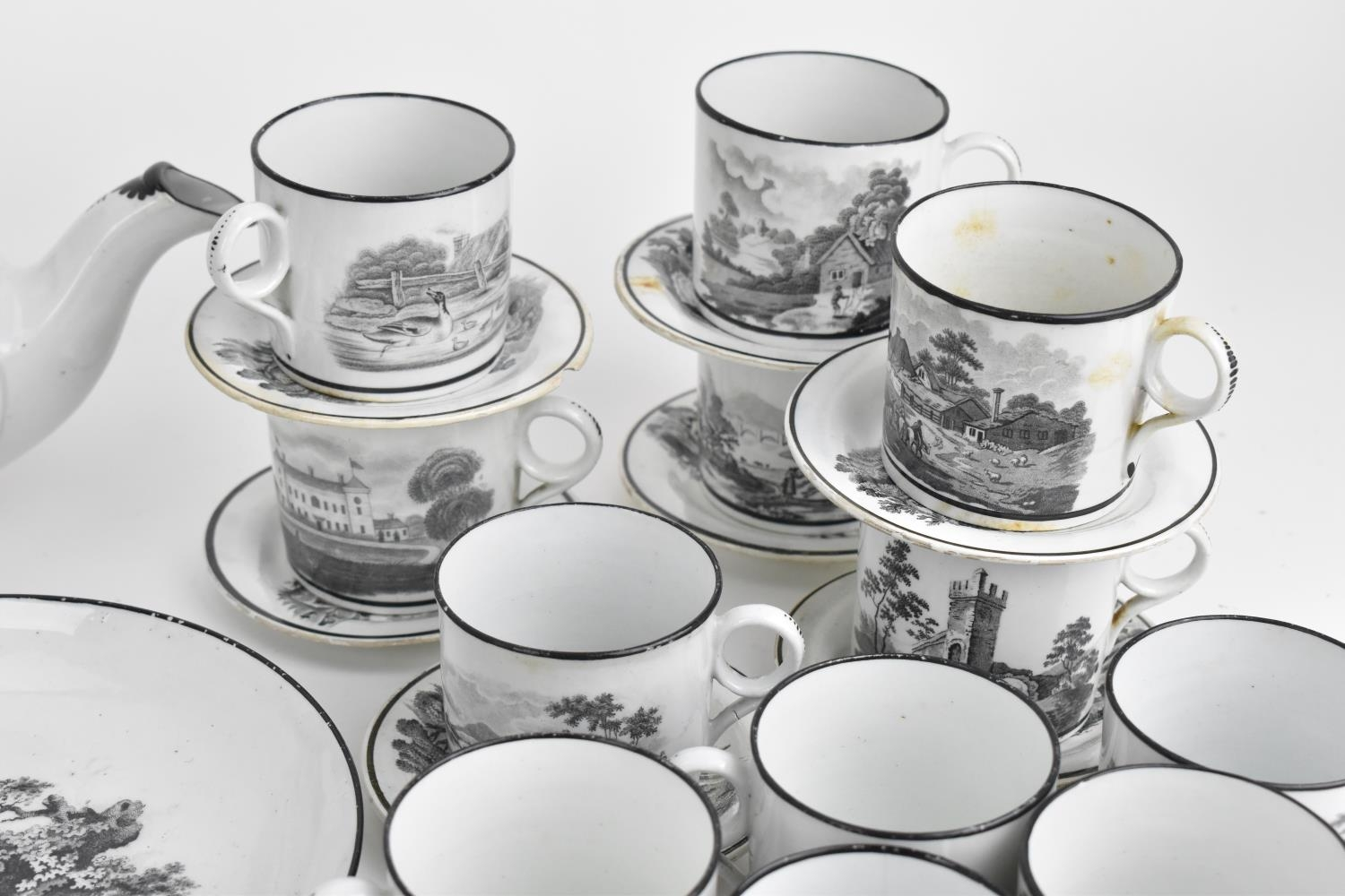 A George III period thirty eight piece New Hall tea and coffee service, circa 1805, pattern number - Image 4 of 11