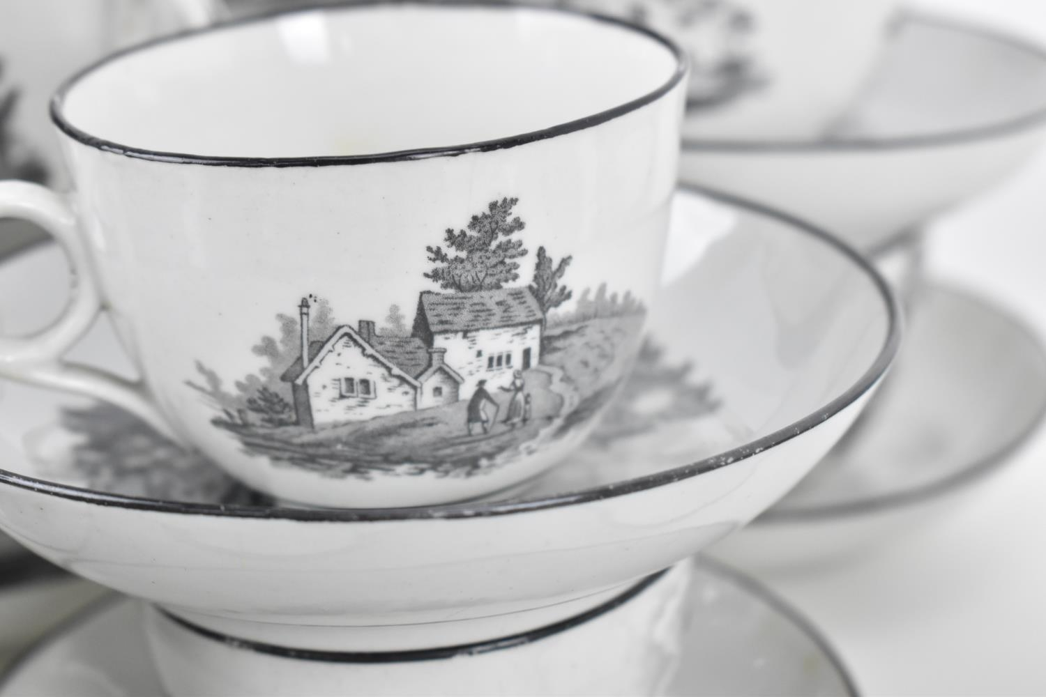 A George III period thirty eight piece New Hall tea and coffee service, circa 1805, pattern number - Image 8 of 11