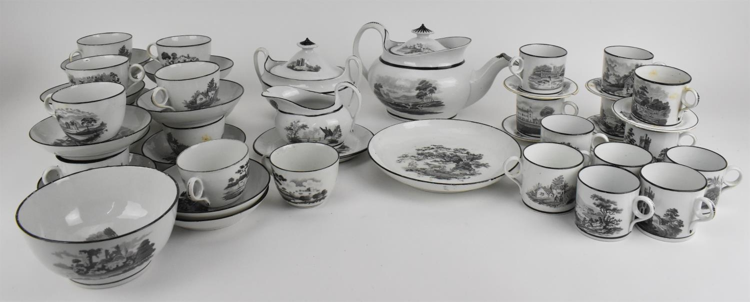 A George III period thirty eight piece New Hall tea and coffee service, circa 1805, pattern number
