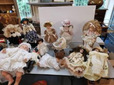 A collection of modern dolls to include Heritage Mint collection and Pedigree, along with five