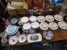 Mixed china to include two Royal Crown Derby paperweights, a set of six Wedgwood soup bowls having