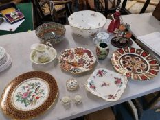 English porcelain to include a Moorcroft vase, a large Royal Crown Derby bowl, three Crown Derby