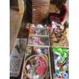 Haberdashery and sewing-related items to include vintage pin cushions, mixed cotton reels, a