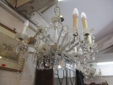 Three 20th century glass drop chandeliers, eight arm, A/F together with boxes of miscellaneous glass