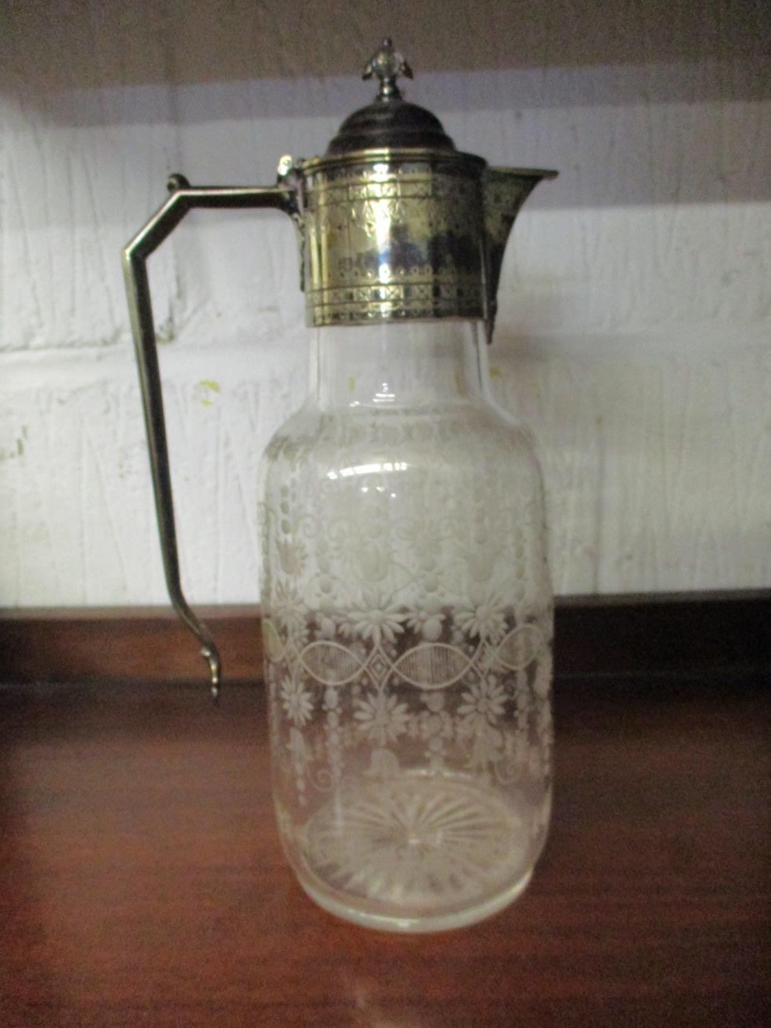 A quantity of table glass to include a Victorian and silver plated claret jug with engraved - Image 7 of 9