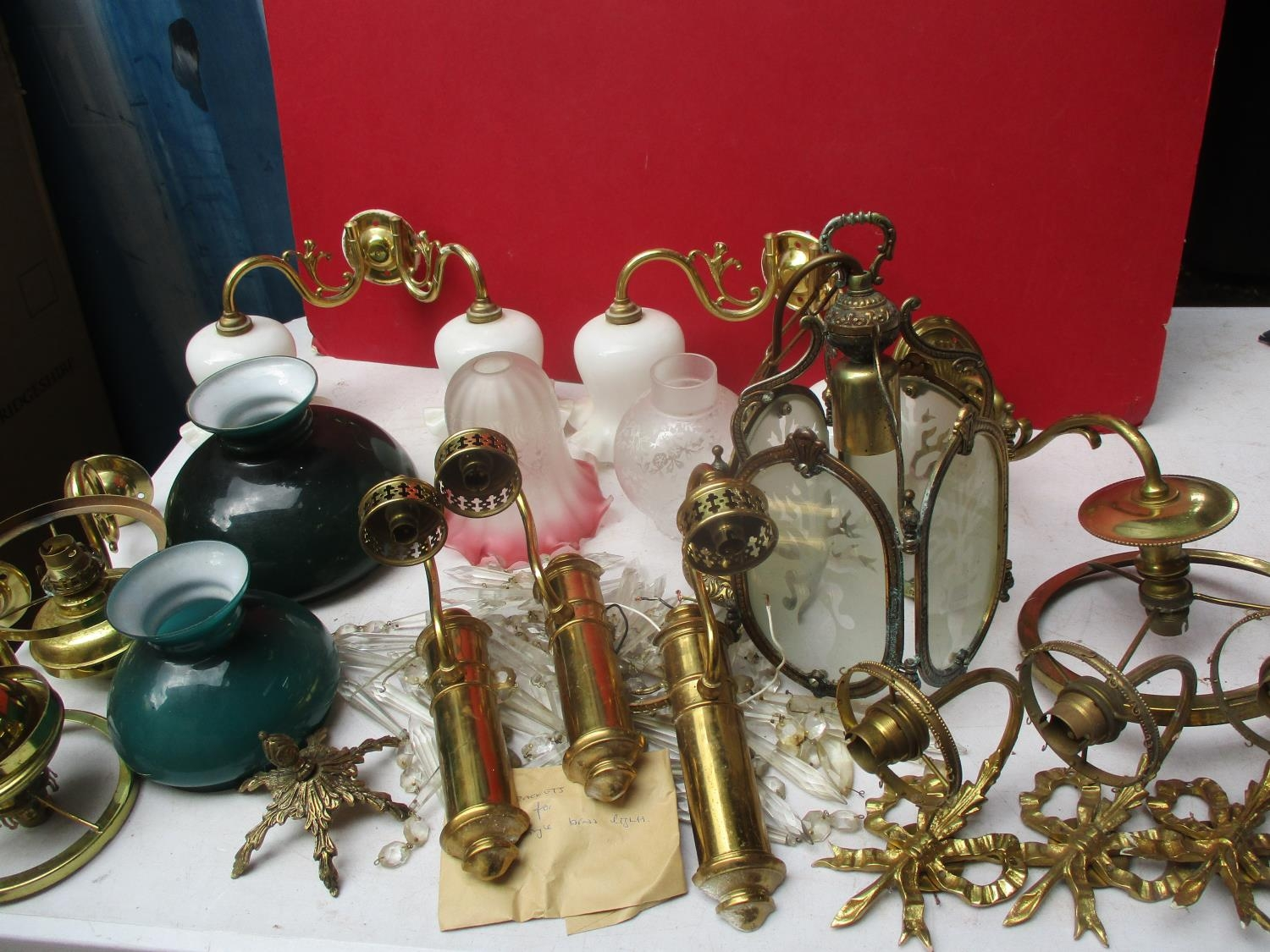 Early 20th century brass and glass wall lights A/F, and a quantity of Midwinter Stylecraft