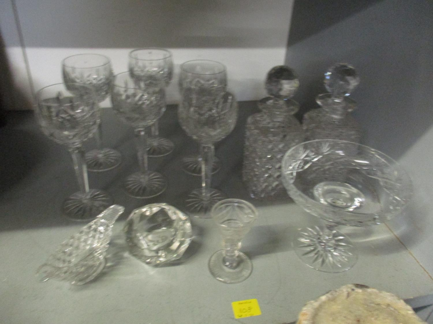 A quantity of table glass to include a Victorian and silver plated claret jug with engraved - Image 2 of 9