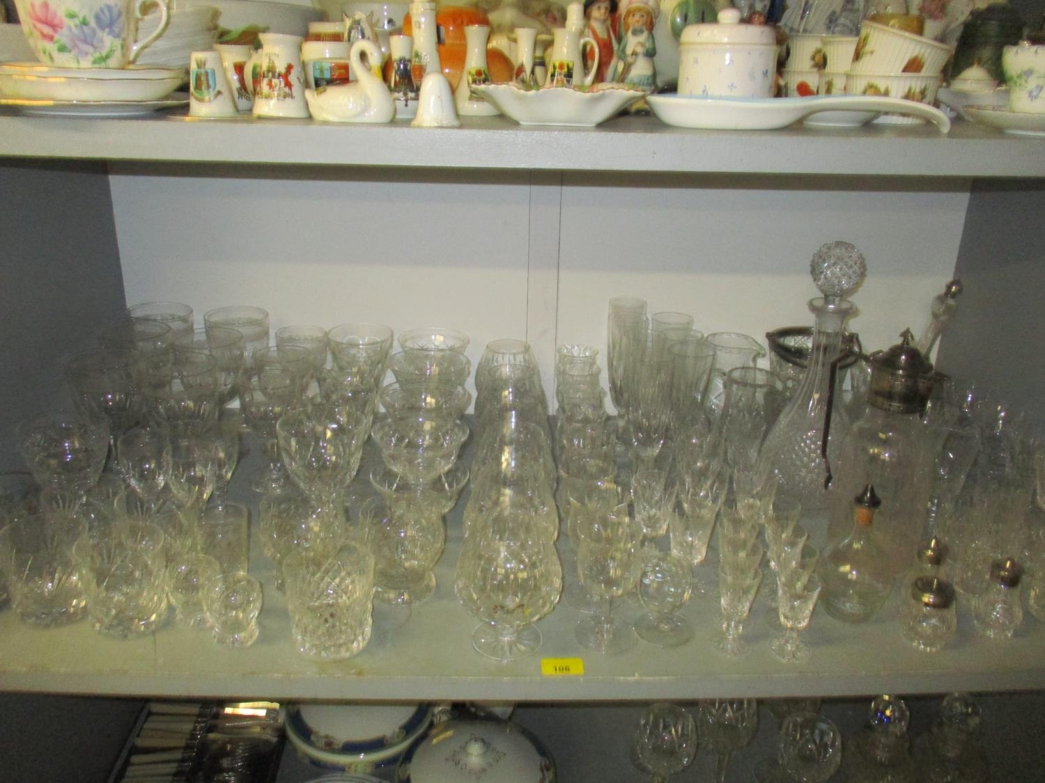 A quantity of table glass to include a Victorian and silver plated claret jug with engraved