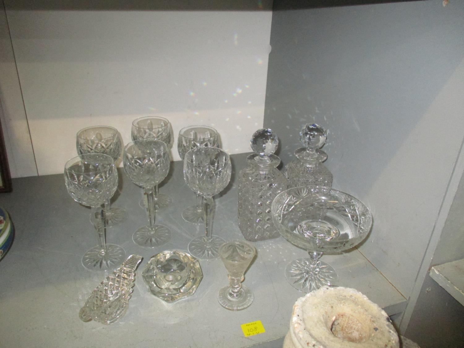 A quantity of table glass to include a Victorian and silver plated claret jug with engraved - Image 3 of 9