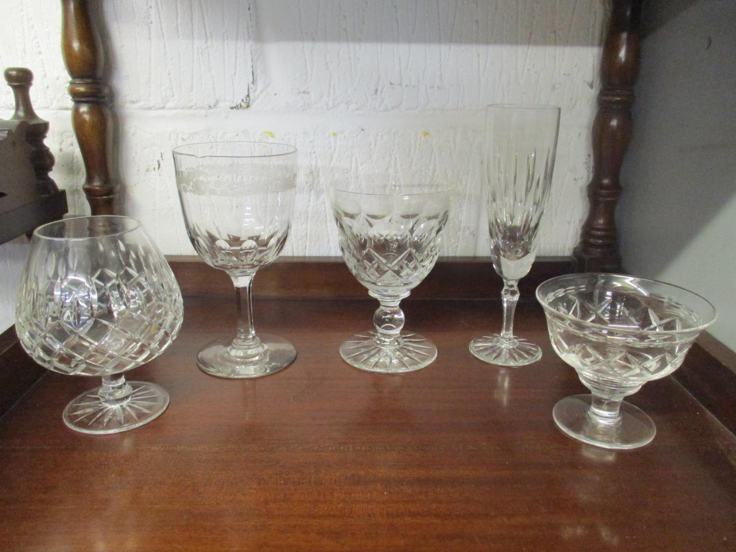 A quantity of table glass to include a Victorian and silver plated claret jug with engraved - Image 9 of 9
