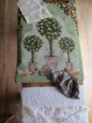 A late 20th century tapestry wall hanging, machine made, depicting images of lemon trees in pots
