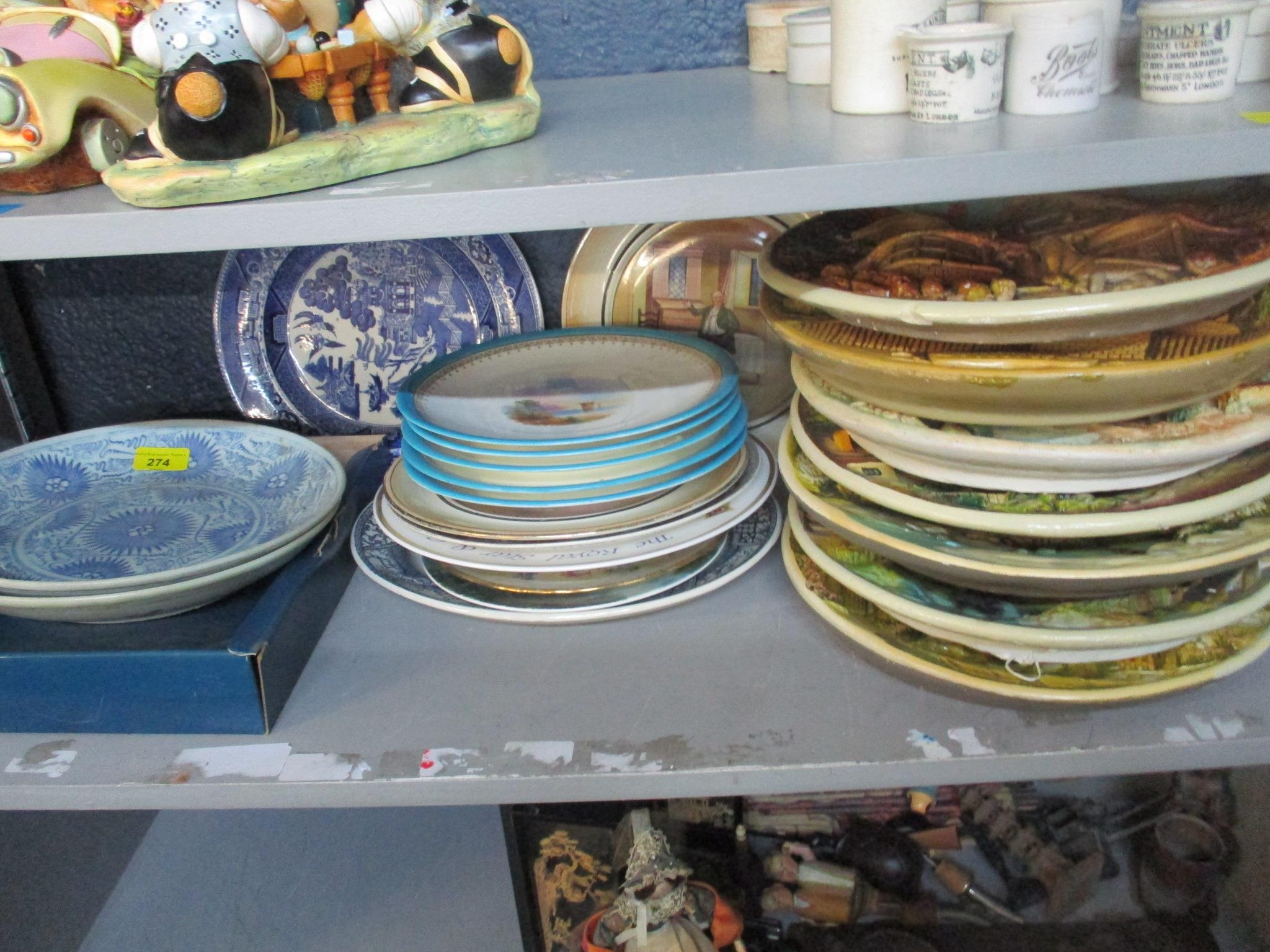 Two provincial Chinese blue and white plates, along with a selection of other Victorian and later - Image 2 of 4